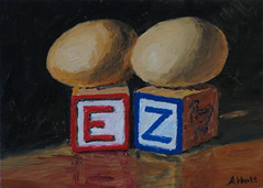 Two Eggs over EZ (SkyValleyGallery) Tags: painting funny eggs pun overeasy toyblocks dailypainting