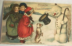 Vintage Christmas Postcard, Snowman and Dog and Kids (riptheskull) Tags: christmas dog vintage snowman postcard ephemera collection vintagepostcard vintagechristmas oldpostcard postcardcollection vintagechristmaspostcards