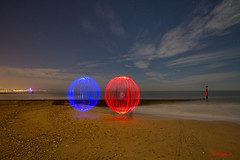 Red and Blue Orbs on Bournemouth Beach (mpelleymounter) Tags: light lighttrails orb lightorb lightpainting bournemouthpier bournemouthseafront bournemouth bournemouthbeach alumchine dorsetlandscape dorsetnightsky dorsetseascape markpelleymounter movement longexposure stars beach sand sea waves groyne