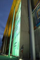 green entrance (myfear) Tags: roof building green nightshot entrance pillars glas floodlight
