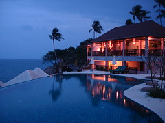 Blue Hotel (juliaclairejackson) Tags: trip travel blue holiday reflection beach pool night thailand lights hotel heaven dusk chaweng tropical kosamui tropics cliffviewbayhotel travelerphotos