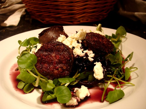Blackpudding with watercress,  goats cheese and caramalised red cabbage salad