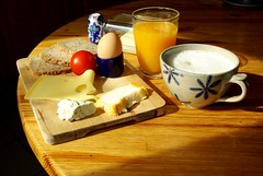 This Is My Idea Of Breakfast (Cybergabi) Tags: cheese breakfast tomato yum egg butter caffelatte orangejuice 5