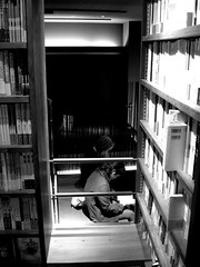 *flashback-in-b&w*tiny cafe & bookstore (prudence) Tags: bw japan bookstore finepix fujifilm fukuoka chill tenjin ims kyushu f410 chilltime interestingplace mountainroute wonderbookcafe