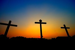 Three Crosses (BamaWester) Tags: blue sunset sky orange religious alabama crosses christianity threecrosses instantfave bamawester napg