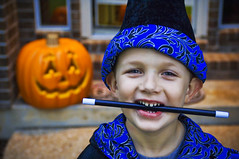 Ethan the Warlock (Stuck in Customs) Tags: blue orange black halloween smile cookies childhood kids austin happy photography kid clothing healthy nikon texas photographer witch wizard magic teeth blueeyes memories ethan sweeties stick tradition melon visits hdr warlock customs whitemagic highquality festives blackmagic halloweenpumpkin stuckincustoms healthyteeth treyratcliff halloweenandkids healthykid