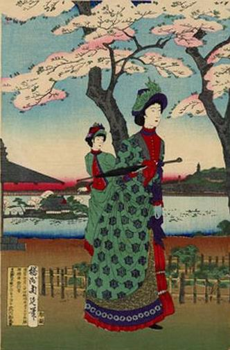 Chikanobu Toyohara, Meiji Ladies at Ueno Park, 1880s