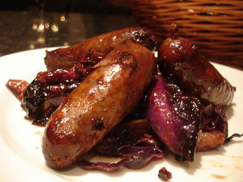 Sausages  with caramalised Red Cabbage and Red Onion
