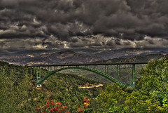Cold Spring Arch Bridge, Santa Barbara, California (Thad Roan - Bridgepix) Tags: california bridge santabarbara clouds photo arch steel bridges coldspring hdr bridging santaynezmountains 200612 bridgepixing bridgepix
