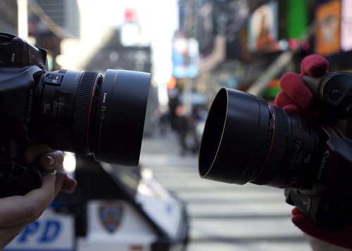 "Two Canon 50mm f/1.2 L lenses ""bokehfy"" Times Square"