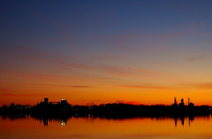 Sunset Over the River. (BamaWester) Tags: blue sunset sky orange reflection alabama silhouettes decatur bamawester napg outstandingshotshighlight sunsetovertheriver