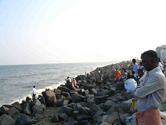 Evening at the rocky sea shore