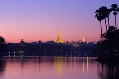 shwe dagon at dusk (flappingwings) Tags: longexposure lake reflection water shwedagon yangon burma myanmar kandawgyi cokinby cokinblueyellow