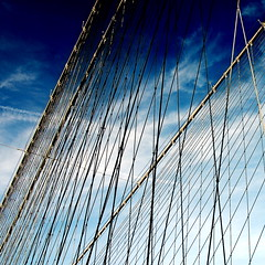 like sails (smcgee) Tags: bridge newyork brooklyn d50 sunday january bluesky brooklynbridge stroll squarecrop 2007 unseasonablywarm