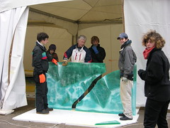 ice painting at door to tent