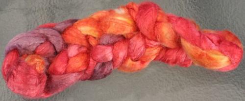 Fiber Fiend Tussah Silk in Colorway: Flame