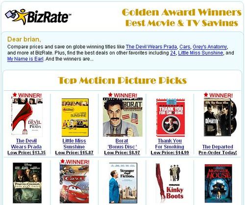shopzilla golden globe email