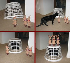 The Bunnies' Revenge (Mr. Ducke) Tags: bunnies cat basket plush revenge parsnip cc100 abigfave kittysuperstar ultimateshot