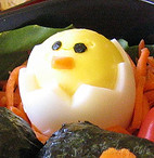 baby chick in shell made from hardboiled egg