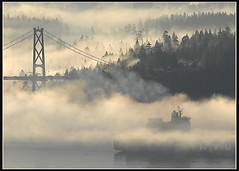 Hyundai (JuttaMK) Tags: water fog vancouver bravo ship explorer bridges container stanleypark lionsgatebridge hyundai firstquality 35faves abigfave anawesomeshot superbmasterpiece searchandreward onlythebestare