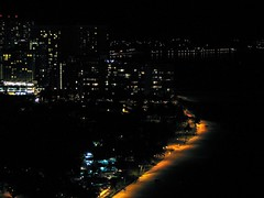 Waikiki Beach at Night (garyhymes) Tags: ocean sky beach volcano hawaii view pacific waikiki hilton palmtrees diamondhead honolulu hiltonhawaiianvillage rainbowtower