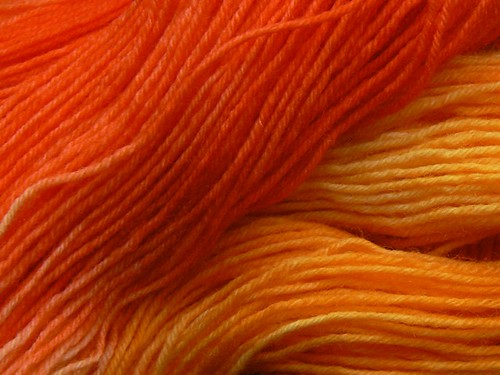 orange sockyarn closeup