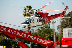 LAFD Air Ambulance enroute to UCLA Trauma Center. © Photo by Michael Corral.