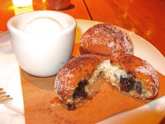 my dessert, hot chocolate beignets (Scuzzi) Tags: birthday food brooklyn dinner yummy delicious tempo