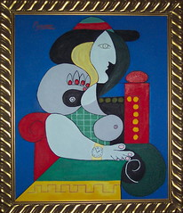 Femme  la montre - Picasso 1932 (Tomitheos) Tags: blue red copyright favorite woman white green art clock colors yellow 1932 painting greek google artwork key published colours image time framed surrealism femme watch pablo creative surreal images canvas replica explore picasso oil imagination mystical now lucid dimension today 5th reproduction 2007 encyclopedia elegance montre cubism stockphotography blueperiod  tomitheos picassopainter 19091912 analyticcubismisastyleofpaintingpicasso