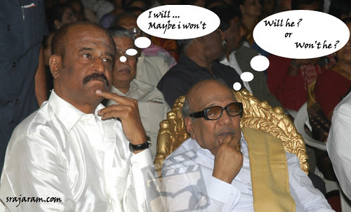 Caught at the wedding of Prabhu 39s son Rajini and Karunanidhi the Chief