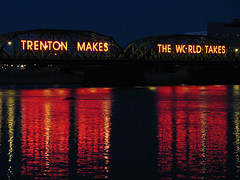 """Trenton Makes"" Closeup (magarell) Tags: bridge reflection night neon nj mercercounty delawareriver trenton trentonmakes"
