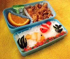 Aquarium Bento, side view (Sakurako Kitsa) Tags: fish asian lunch aquarium bento sakurako obento kitsa sakurakokitsa
