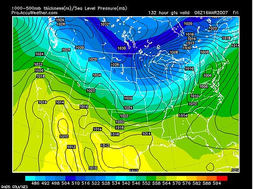 GFS Model Projection for Fri 3-16
