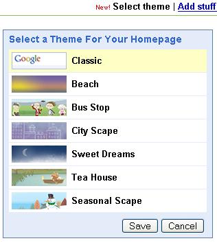 Google Skin Auswahl