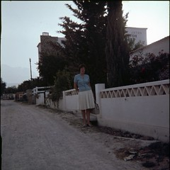 img304 (foundin_a_attic) Tags: 1970s glass slide 77 70s fashion street hotel easo woman blue white