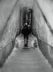 City jungle (Moondancer (sounds and visions)) Tags: bw man alley steps napoli naples underworld suspicion descending pusherman
