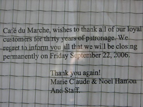 Cafe du Marche - closed.