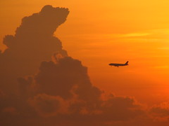 An Outside Perspective! (R@j) Tags: sunrise sunshine morning clouds singapore sky canons2is bsborange warm warmth orange plane flight morningsun landing perspective travel trip holiday winter vacation nature flickrexplore rj