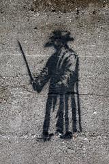 En Garde! (JohnnyBallgame) Tags: ontario canada art graffiti stencil downtown guelph confusing