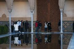 Tourist Invasion (Giant Ginkgo) Tags: reflection reflections spain europe muslim islam alhambra moorish granada moors palacioreal royalpalace islamic patiodelosarrayanes andalucia espana