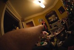 freaky fisheye arm (bkusler) Tags: eric christmastree fisheye christmasparty trudy cmp bv bk drk simma
