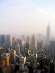 Manhattan from 30Rock centre (Littlepixel) Tags: nyc photoshop miniature manhattan fake mini empirestate fts 30rock rockerfeller tiltshift toytown lensblur railwaylayout