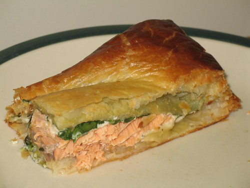 A slice of Salmon en Croute