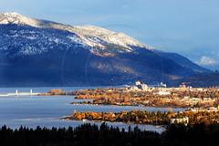 Kelowna Winter (Lightdancer747) Tags: city bridge winter mountain lake snow canada 20d canon bc okanagan kelowna