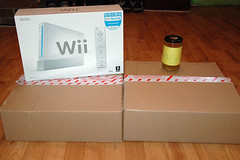 Wii Wee (WooDrew) Tags: christmas pee rachel joke nintendo fake 2006 presents jar wee boxes urine wii wrappingpapper