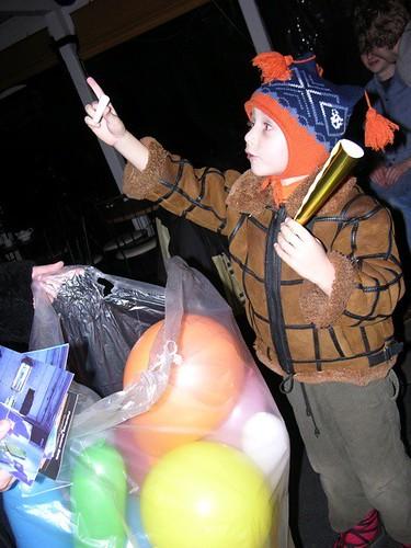 Child w balloons & invitations