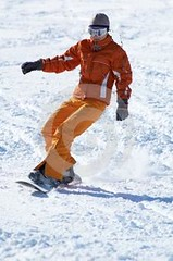 ornge snow boarder