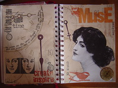 My Muse is... (Elena777) Tags: art handmade collage mixedmedia altered journal artjournal traveljournal paper craft hobby clipart travelingartjournal muse time woman bird clock rubbertsamping interestingness interestingness489 explore7jan2007 i500