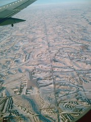 Flying over snowy Iowa