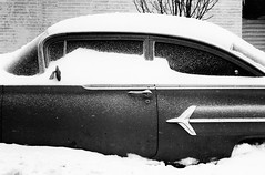 snow car (crank and lever) Tags: leica bw snow home 50mm neighborhood utatafeature removedfrommmountgroupfortags